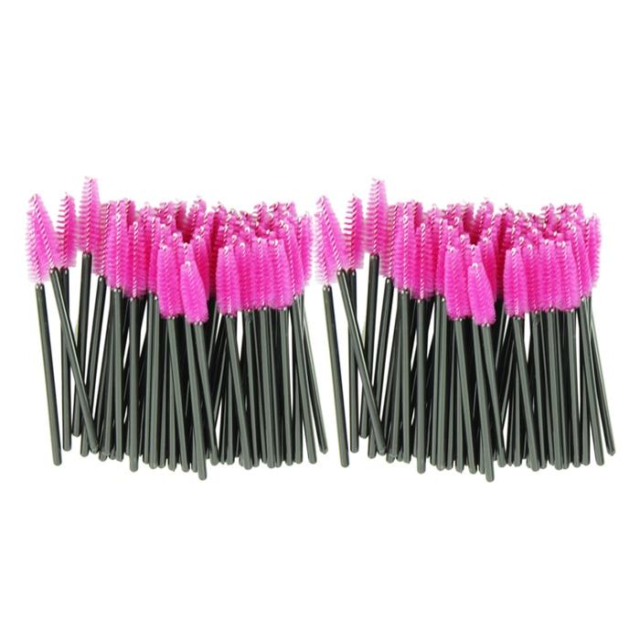 100pcs/lot Eyelash Brush Women Beauty make up brush Pink synthetic fiber One-Off Disposable Mascara Applicator Wand Brush