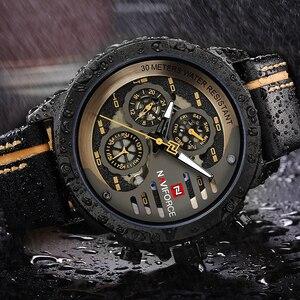 Image 5 - Naviforce homens relógios de couro genuíno esporte relógio de pulso masculino marca superior luxo à prova d24 água 24 horas data relógio de quartzo reloj hombre