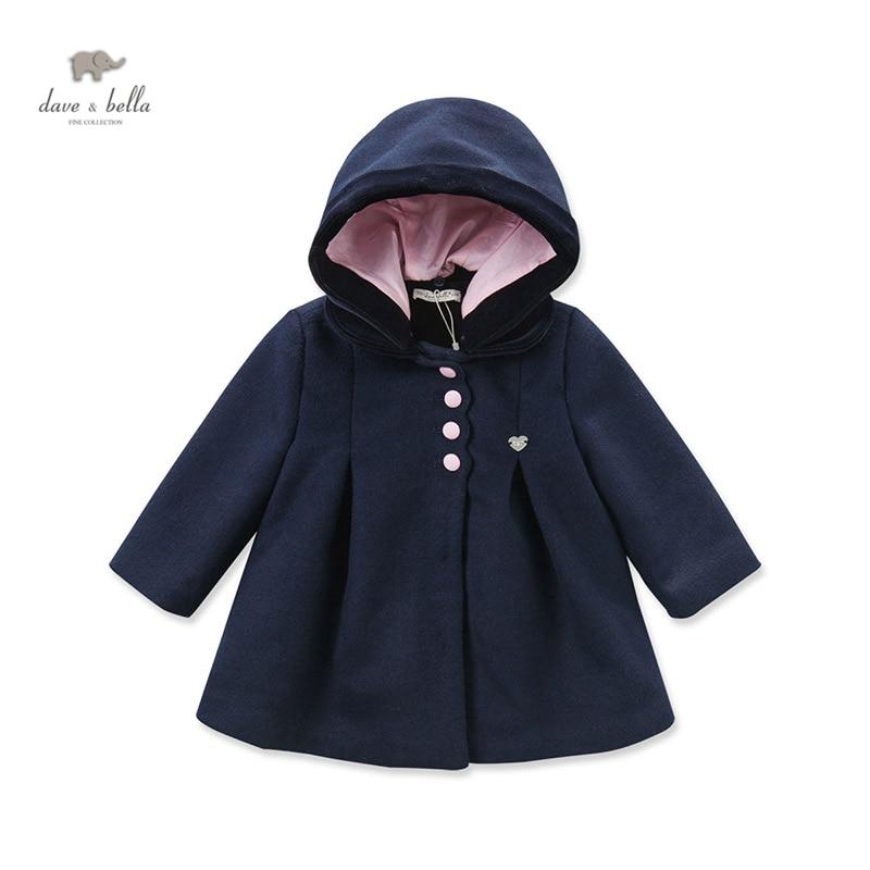 ФОТО DB3960 davebella  baby girls navy wool blends coat