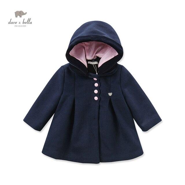 Davebella DB3960 новорожденных девочек темно-синий шерсть пальто