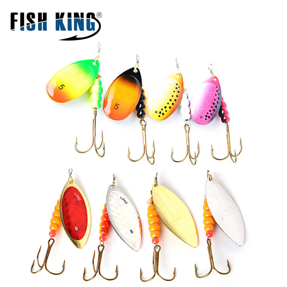 4pcs/lot Metal Fishing Lure Spinner Bait Size 1#2#3#4#5# Hard Baits Spoon Lures With Treble Hook Hard Fake Fish Metal Lures Set