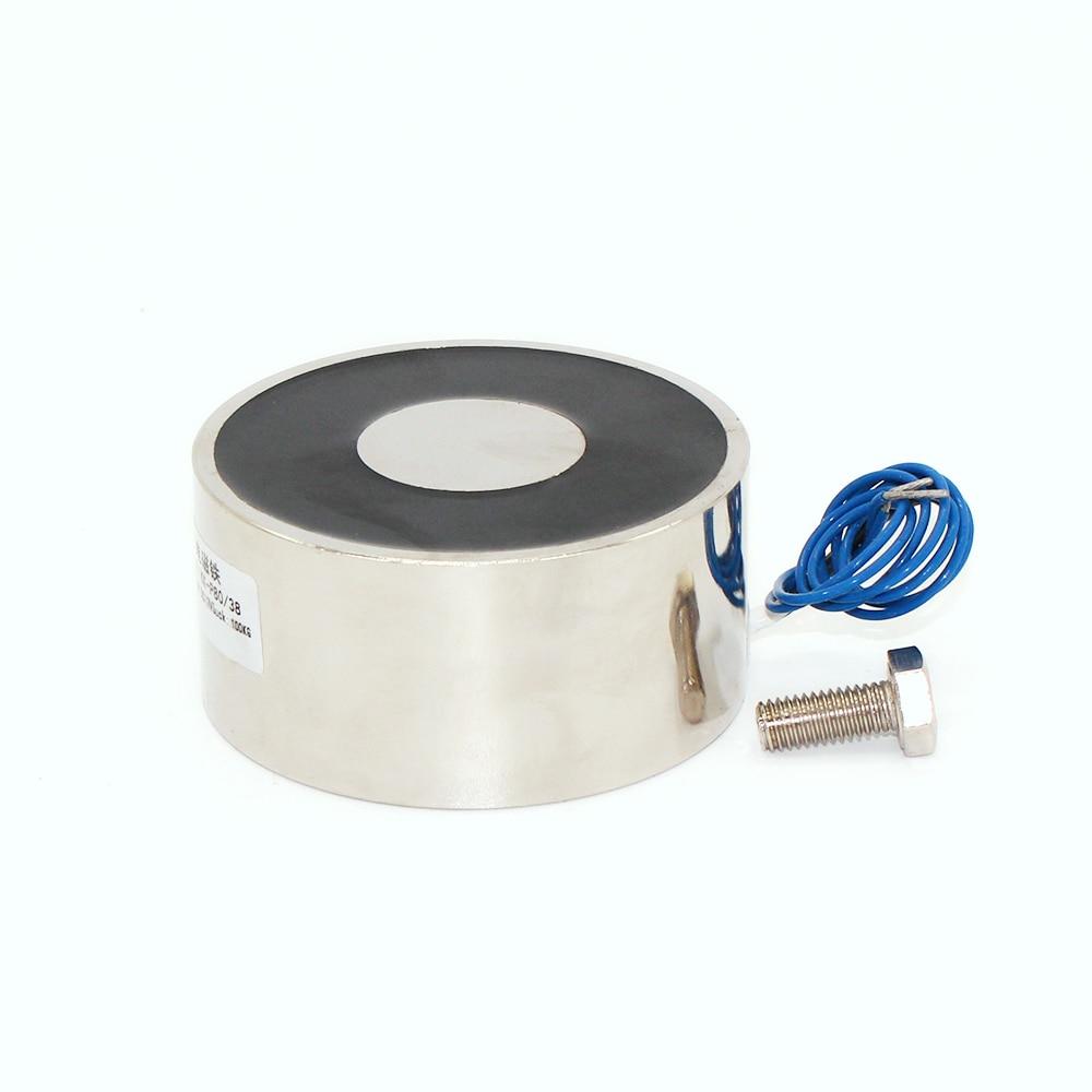 80/38mm aspiration 100 KG DC 5 V/12 V/24 V solénoïde électro-aimant de levage électrique électro-aimant fort titulaire tasse bricolage 12 v 24 volts