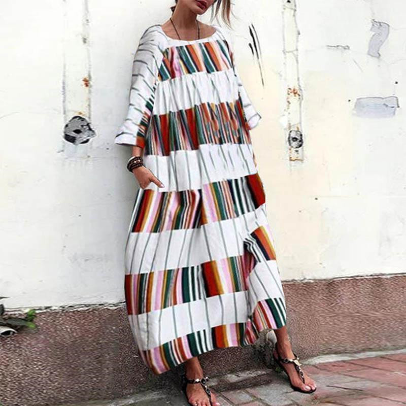 0f4b0bf4e81f Detail Feedback Questions about Summer Plus Size Clothes Boho Stripe  Printed Long Dress Casual Loose Robe Long Sleeve Street Style Women s Dress  on ...