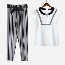 Плюс Размеры XL-5XL Повседневная Женская комплект белая блузка + штаны в полоску 2 шт. комплекты с поясом бантом Дизайн женская одежда S6501