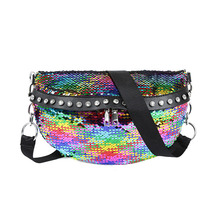 7PCS / LOT Women Sequin Waist Fanny Pack Double Zipper Fashion Crossbody Bags for Young Girls Female High Capacity
