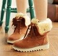 2017 new women boots slip tendon soled ugs winter women female round toe flat plush winter boots cross lace boots women