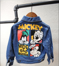BABY Girls Boys Denim Jackets Spring Autumn Fashion Cartoon Pattern Coats Kids Children's Coat 5 P/L
