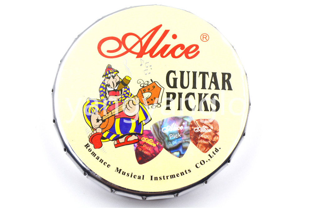 Alice Big Round Metal Pick Holder Case Box 20pcs Pearl Celluloid - Երաժշտական գործիքներ - Լուսանկար 4