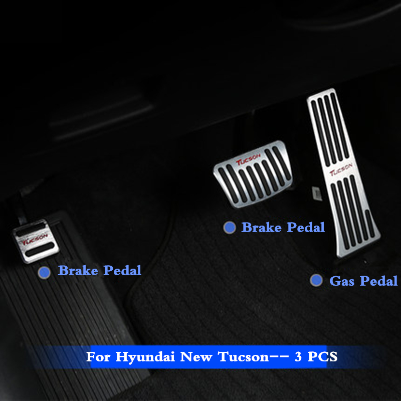 3 PCS Car Alloy Fuel Gas Pedal Brake Pedal Foot Pedal Accelerator Cover Pedal For New Hyundai Tucson 2015 2016 2017 2018