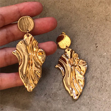 Timeless Wonder stunning golden leaf statement drop Earrings Pop Brincos wedding runway top gown stunning simple ins 6856(China)