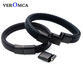 VEROMCA Punk Men Jewelry Black Genuine Braided Leather Bracelet Stainless Steel Magnetic Clasp Fashion Bangles 18.5 22.5 20.5cm (18)