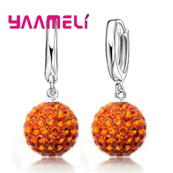 New Fashion Super Shiny Colorful Cubic Zirconia Earrings Jewelry For Women Girls Present 925 Sterling Silver Crystal 3