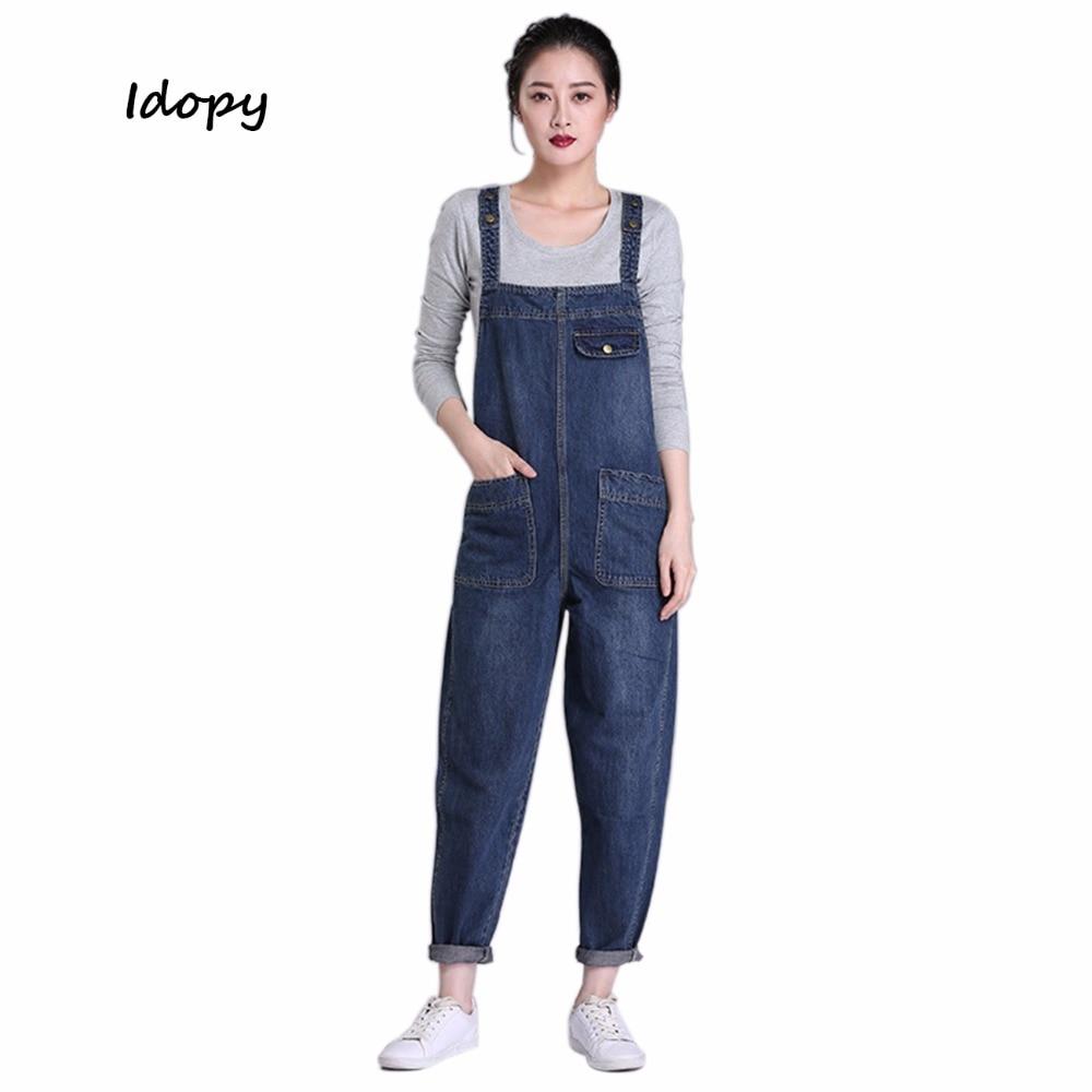 Womens Loose Zipper Calf Length Denim Bib Overalls Vintage Fashion Harem Jeans Jumpsuits Boyfriend Hip Hop Baggy Pants 043007 Bottoms Jeans