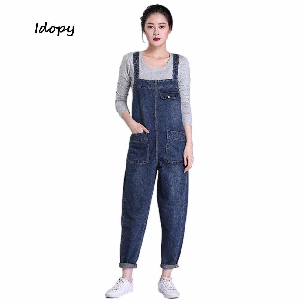 Idopy Women's Girl's Casual Loose Denim Jean Bib Work Garden Pregnant Harem Overalls Jumpsuits Sleeveless Romper Pants For Women