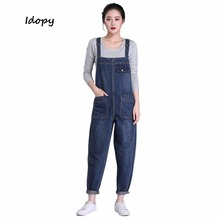Idopy Women's Girl's Casual Loose Denim Jean Bib Work Garden Pregnant Harem Overalls Jumpsuits Sleeveless Romper Pants For Women(China)