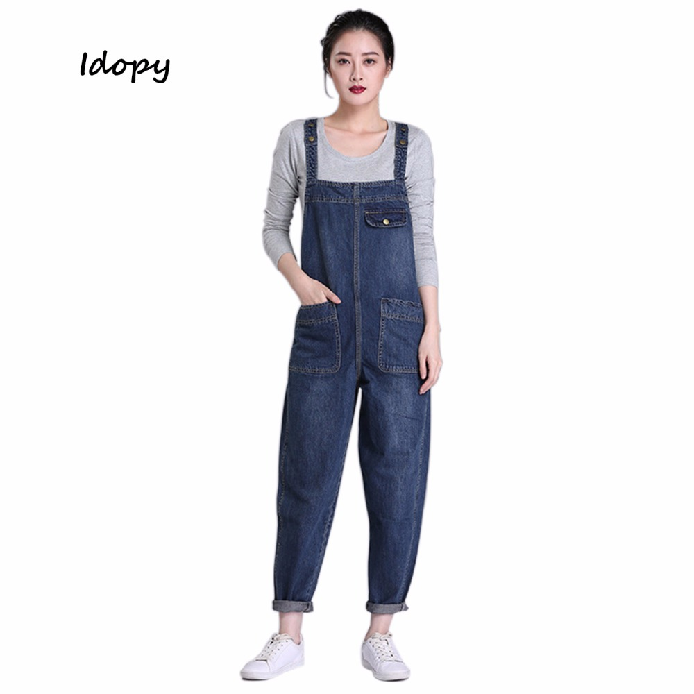 Idopy Women's Girl's Casual Loose Denim   Jean   Bib Work Garden Pregnant Harem Overalls Jumpsuits Sleeveless Romper Pants For Women