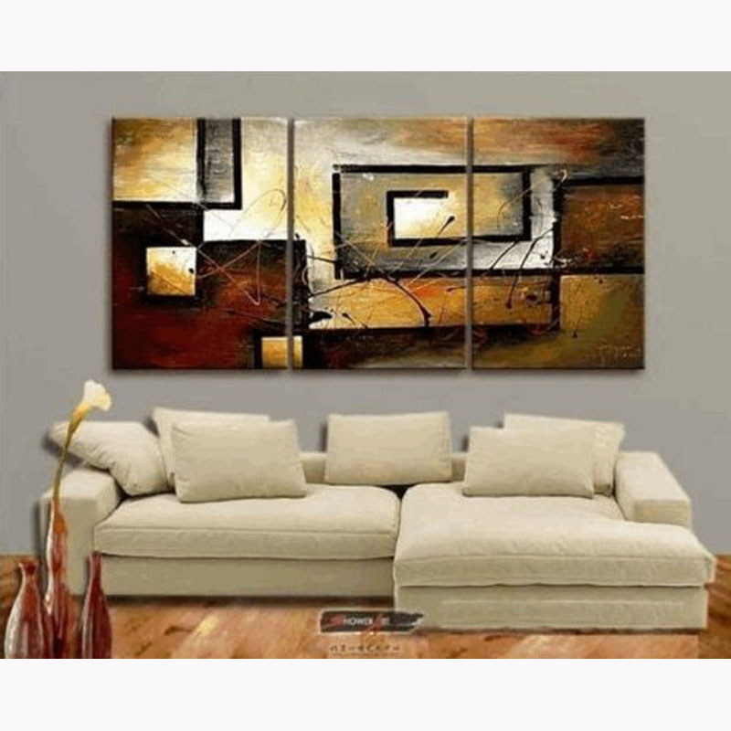 100% Hand Painted Modern Oil Painting on Canvas Wall Art Home Decoration 3P For Living Room Stretched and Framed Ready to Hang