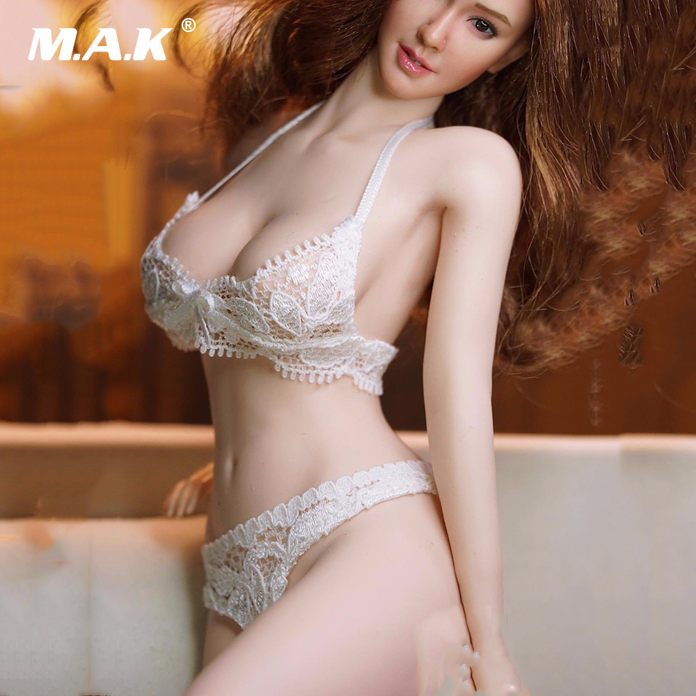 1:6 Scale Female Clothes Accessory White Lace Bra & Briefs Underwear Set For 12