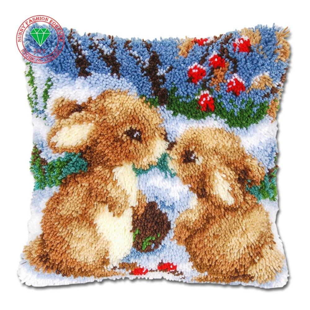 rabbit pillow cushion decor carpet Latch hook rug kits ...