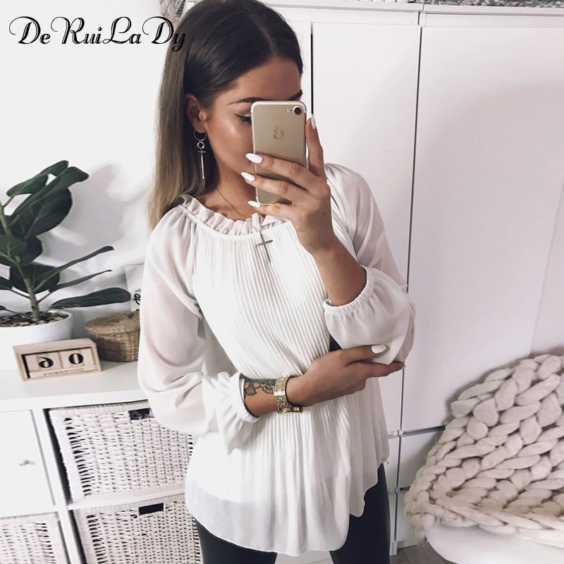 34807da46e886 DeRuiLaDy Ruffled Loose Pleated Chiffon Blouse Shirt Women Sexy Long Sleeve  White Red Blouses Female ...