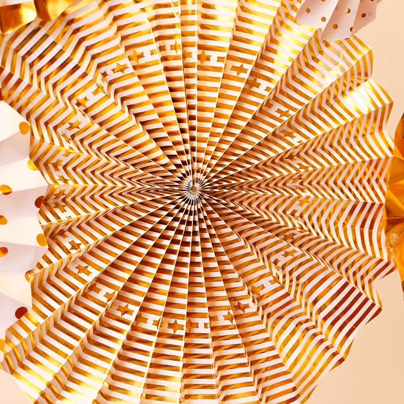 Image 4 - 8pcs Gold Silver Rosettes Pom Wheels Ivory and Gold Pinwheels Party Paper Fans Rosettes Photo Backdrop Wedding Decoration-in Party Backdrops from Home & Garden