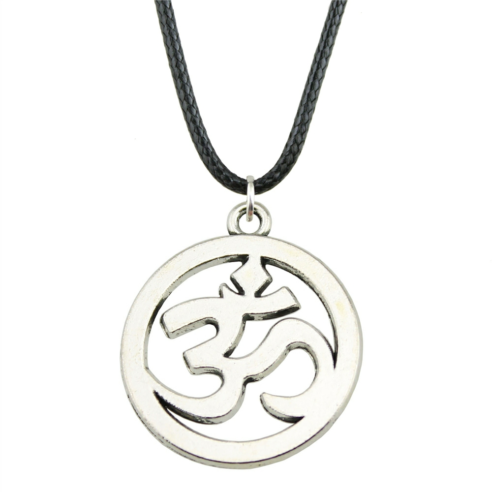 Wholesale Price 25mm (0.98 inches) Om Sign Pendant Leather Chain Necklace For Men Fashion Jewelry Gift