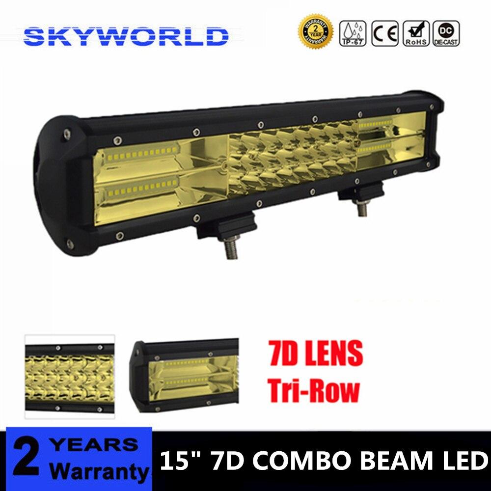 15 ''3-rangée 7D lentille OFFROAD jaune lumière LED BAR pour FORD 12V 24V voiture camion SUV bateau ATV 4X4 4WD remorque pick-up conduite lampe à LED