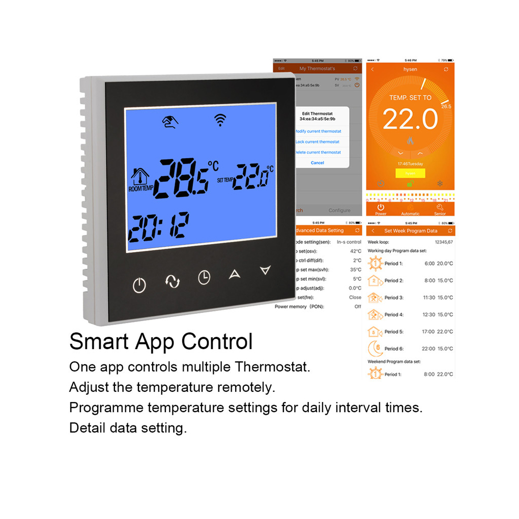Electric Heating Thermostat with Touchscreen Smart WIFI Programmable Temperature Controller with LCD Display 16A 200-240V touchscreen programmable wifi thermostat for 2 pipe fan coil units controlled by android and ios smart phone in home or abroad