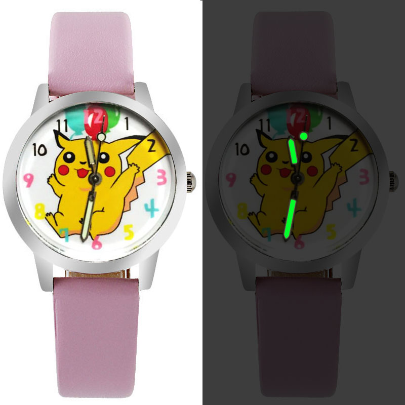 Cartoon Beautiful Girl Color Number Dial Children Students Girl's Leather Quartz Watch Boy  Leisure Clock Children's Holidaygift