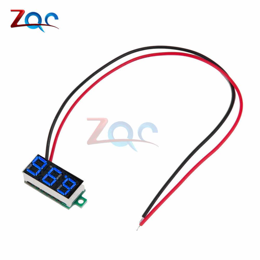 0.36 بوصة DC 4.7-32V 2 أسلاك البسيطة أرقام عرض الفولتميتر البسيطة LED الرقمية لوحة فولت الجهد متر أداة سيارة 12V 24V