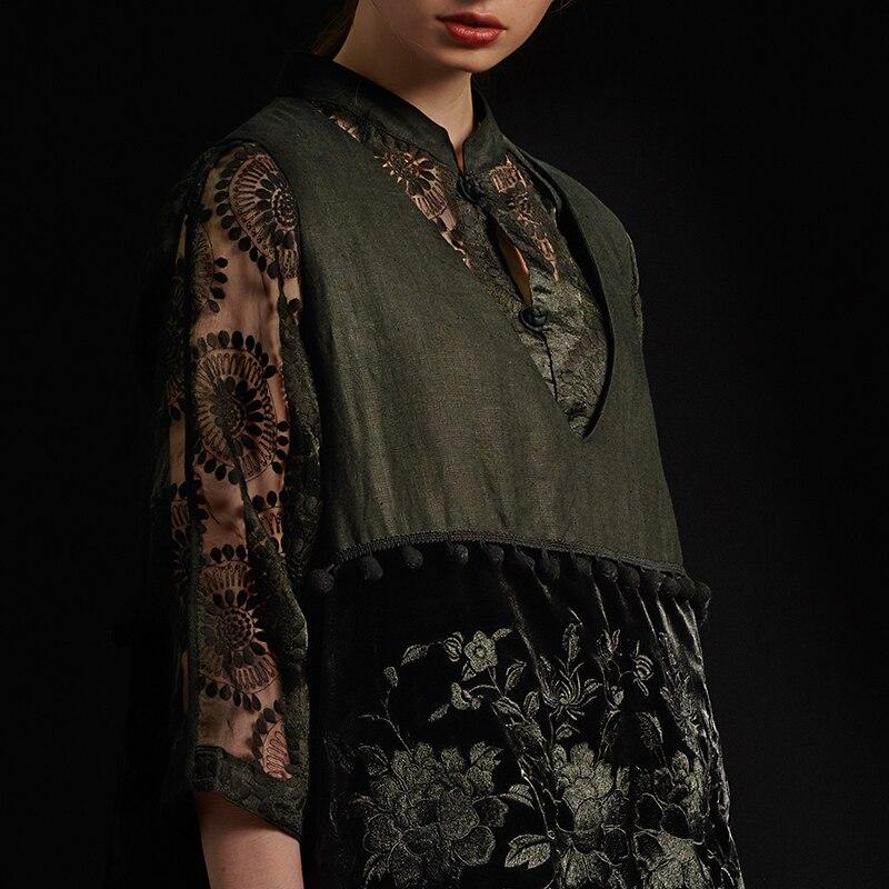 概要黒 V ネックミディアム · 長さ綿ベスト 3 次元装飾刺繍ステッチ厚み綿のベスト L184Y018  グループ上の レディース衣服 からの ベスト & チョッキ の中 3