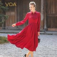 VOA Silk Jacquard Plus Size Shirt Dress Women Long Sleeve Red Casual Slim Tunic High Waist Vintage Korean Swing Spring A6135