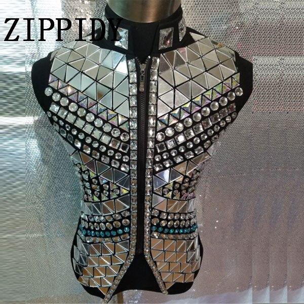 Moda plata espejo chaleco chaqueta masculina cantante traje de diamantes de imitación estilo Punk Ds Dj ropa de noche ropa
