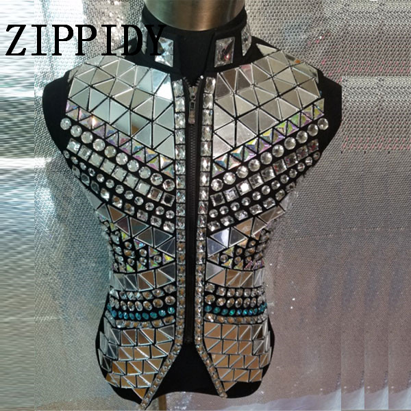 Mode Argent Miroir Gilet Veste Mâle Chanteur tenue Costume Strass Punk Style Ds Dj Survêtement Discothèque Vêtements