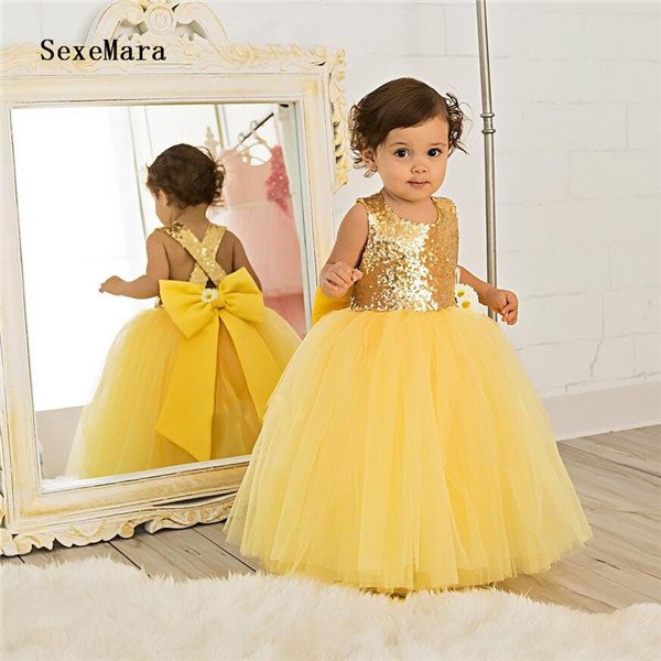 Yellow Puffy Tulle Baby Girls Birthday Dress Sequined Top with Big Bow Little Girls Pageant Party Gown Custom Made Yellow Puffy Tulle Baby Girls Birthday Dress Sequined Top with Big Bow Little Girls Pageant Party Gown Custom Made