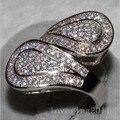 Виктория вик Engagment женщины кольцо вымостите комплект 100 шт. топаз моделируется алмаз 10KT белое золото заполненные обручальное кольцо Sz 5-11