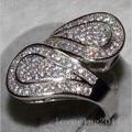 Victoria Wieck Engagment anel Pave 100 PCS Topaz simulado diamante 10KT ouro branco casamento cheio banda anel Sz 5 - 11