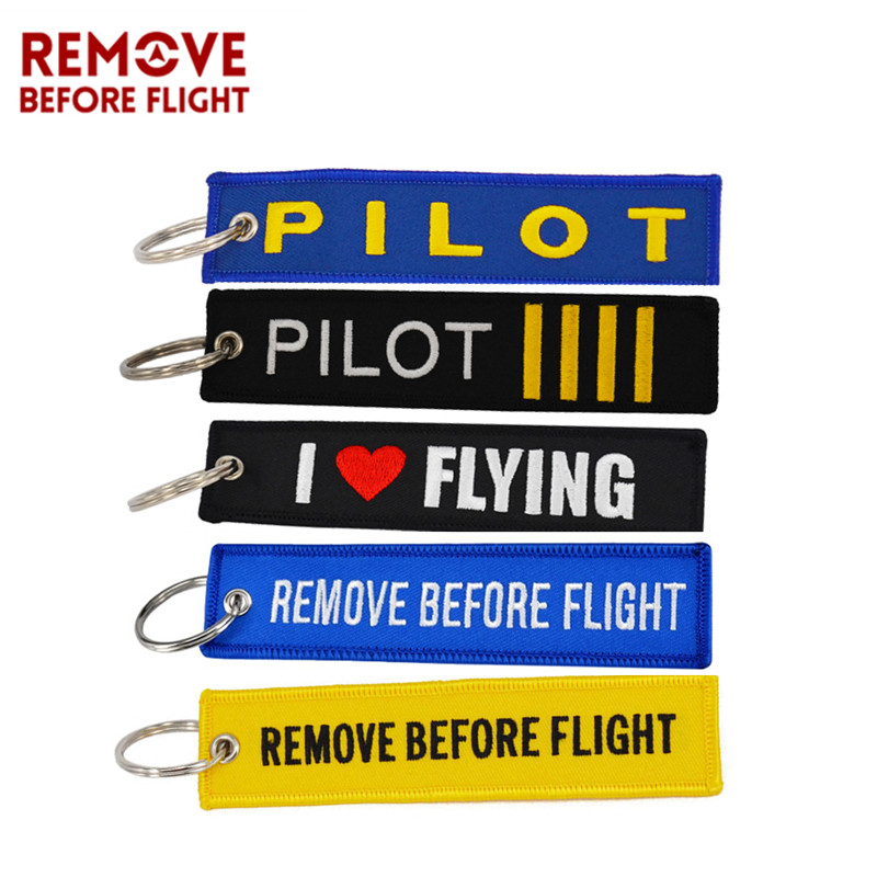 Fashion Keychain OEM Motorcycle Fabric Keychains llaveros Luggage Tag Jewelry Embroidery Key Ring Chain for Aviation Gifts 5 Pcs