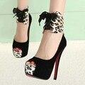 Estampado de leopardo 2016 de la moda zapatos de tacones altos de las mujeres bombea los talones finos sandalias de punta abierta zapatos de la boda zapatos de Dos maneras