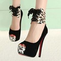 leopard print 2016 fashion women's shoes high heels pumps thin heels open toe sandals wedding shoes Two ways shoes