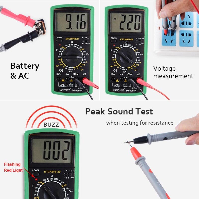 HTB1CaDGbRiE3KVjSZFMq6zQhVXae Handskit Multimeter AC DC Digital Multimeter Professional Tester Meter Voltmeter Digital LCD Display 2000 counts Meter Tester