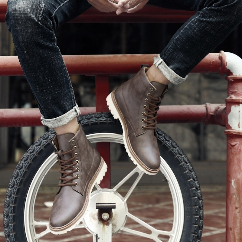 Yellow Qualidade Superior Tornozelo Lace grey Sapatos Couro Up Genuíno Homens De Botas Inverno Estilo Merkmak Outono Boots brown Boots Inglaterra Boots 4O6Bwqn0Z