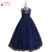 Navy Blue Long Swing Flower Girls Dresses Hot Sale Princess Style Dress For First Communion Mulity
