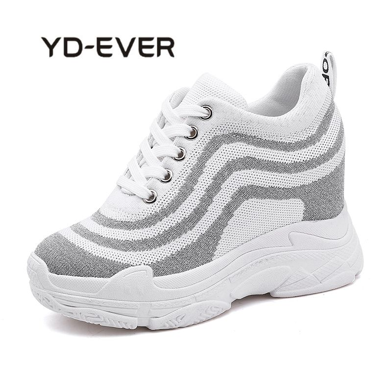 YD-EVER Women Breathable Knit Top Platform Shoes Tenis Feminino Casual Shoes Womens Black/Grey 2018 High Top Fashion Sneakers