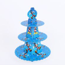 1pcs/set Cartoon Mickey Mouse Baby Shower Birthday Party Decorations Supplies Cardboard Cupcake Stand 24 Cupcakes 3 Tier