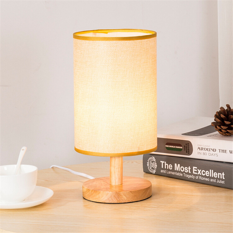 Minimalist Modern Table Lampshade with Solid Wood and Fabric Cylinder Shade Decorative for Bedroom Living Room