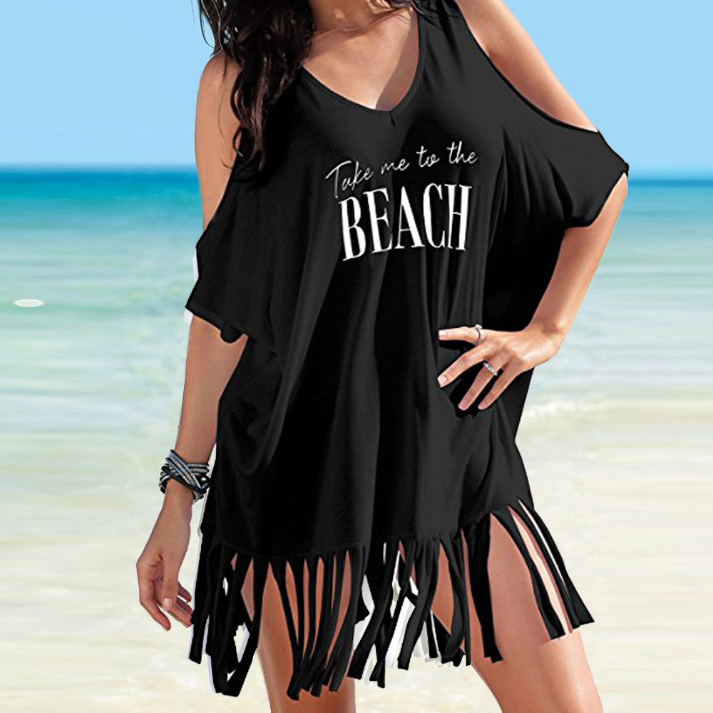 Womens Tassel Letters Print Baggy Swimwear Beach Dress women dress plus size summer casual  drop jue7