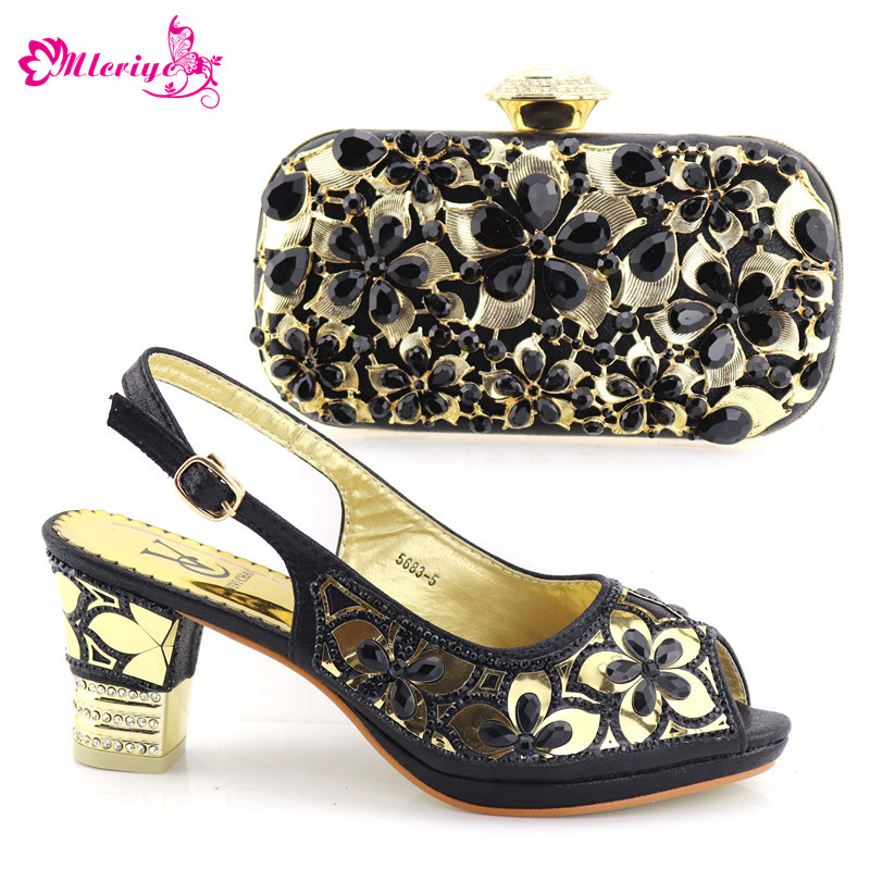 5683-5 Pumps 2018 African Women Shoes And Bag Set With Rhinestones Pumps Italian Shoes With Matching Bag For Evening Party