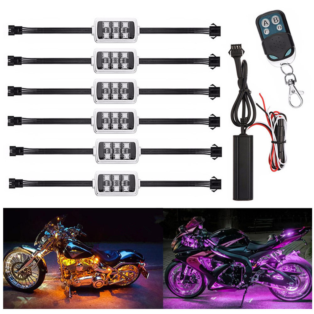 12V 50W Waterproof Motorcycle LED Neon Lamp Decoration Strip 36 LED Motorcycle Engine Wheel Accent Lighting Kit RGB Multi Color