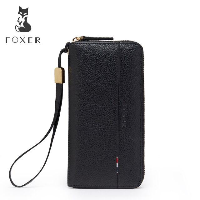 FOXER Лидер продаж Для мужчин сцепления Длинный кошелек бумажник роскошный мужской кожаный бумажник Для мужчин молния кошелек с Wristle Женские Кошельки кошелек